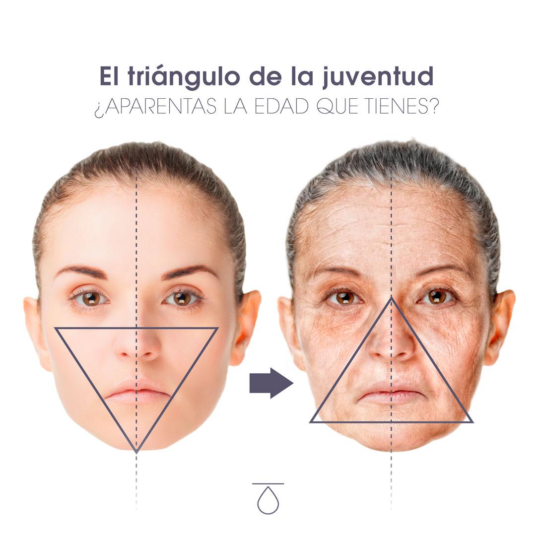 Rostro mujer con tratamiento contra envejecimiento facial
